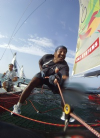 Oman Sail Masirah crew onboard on the final day at Muscat.